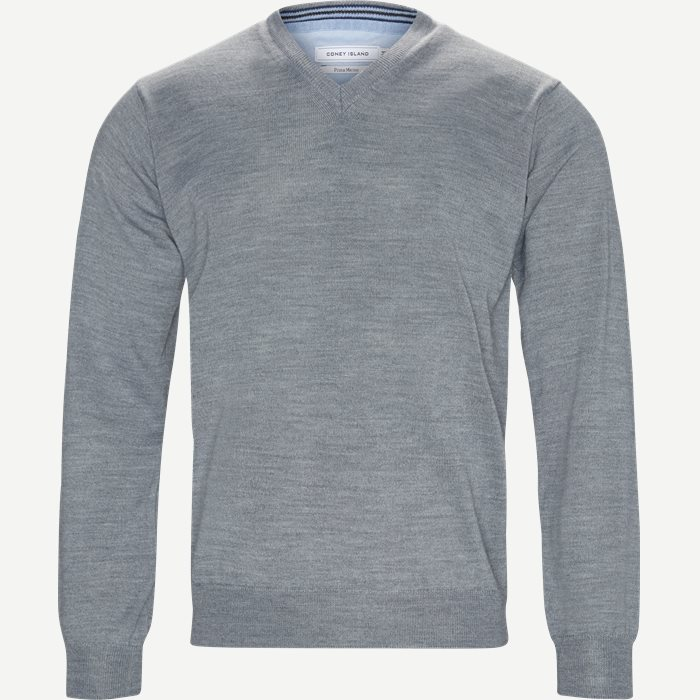 Smaralda V-Neck Striktrøje - Strik - Regular - Grå